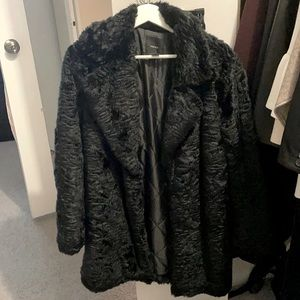 Forever 21 faux fur coat black size M teddy coat